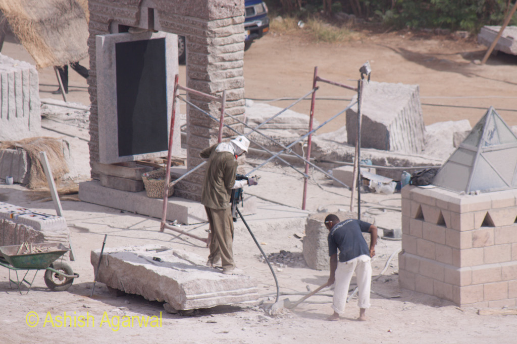 Workers on some restoration process near the Abu Simbel statues in South Egypt