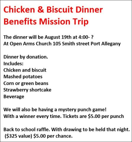 8-19 Chicken & Biscuit Dinner