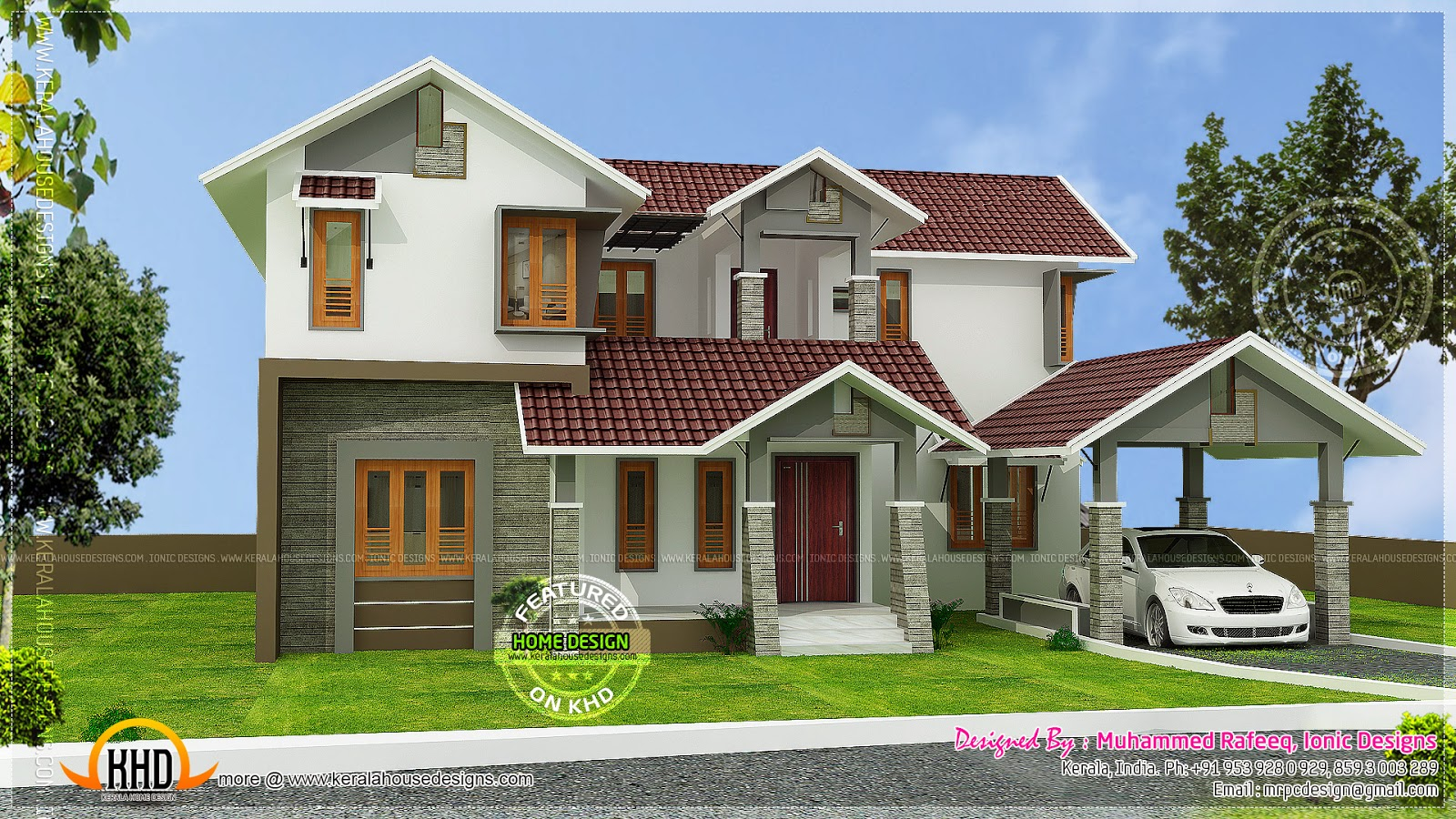 Kerala sloping roof house home kerala plans for Sloped roof house plans in india