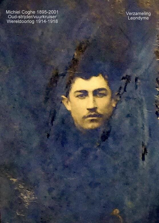 Oud-strijder/vuurkruiser Michiel-Leo Coghe 1895-2001. Legerarchief Evere.