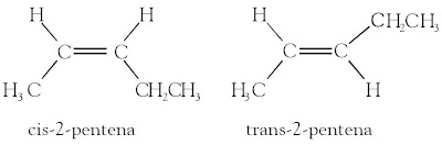 cis-2-pentena trans-2-pentena