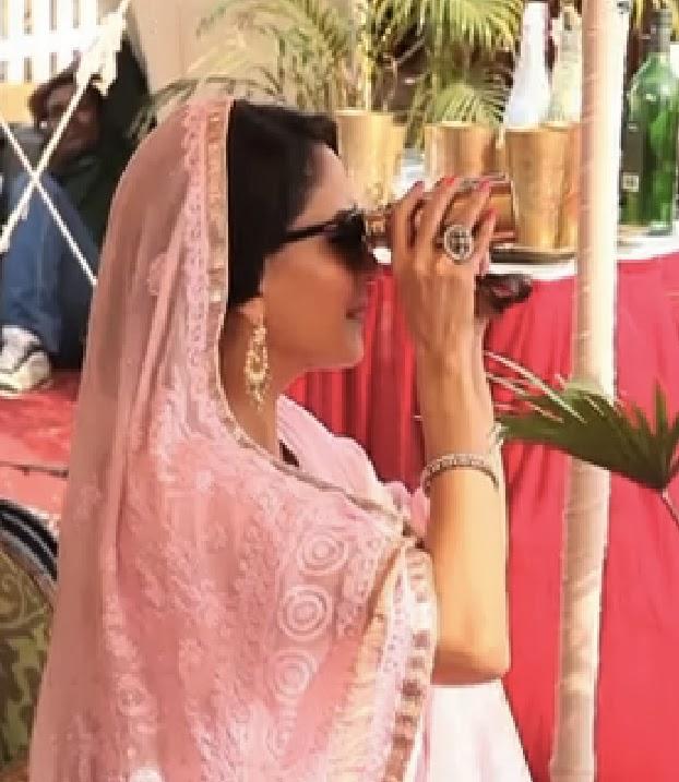 Dedh Ishqiya style guide - Madhuri Dixit-Nene rocks a pale pink lucknowi sari
