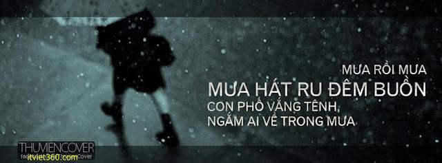 Ảnh bìa Facebook tình yêu đẹp, buồn mới nhất - Cover FB love timeline, mưa rồi mưa hát ru đêm buồn