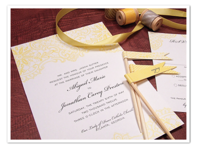 vintage yellow lace wedding invitation design