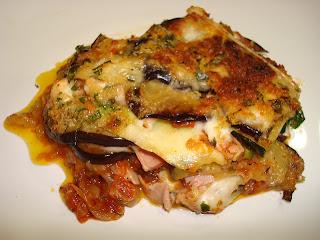 Gratinado berenjenas calabacin mozzarella tomate jamón queso