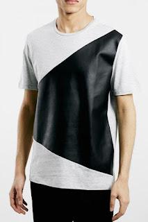 Topman Slim Fit Asymmetrical Panel T-Shirt