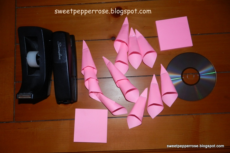 Tip and tutorial paper flower from cd and post it notes supplies needed 3 post it notes mightylinksfo