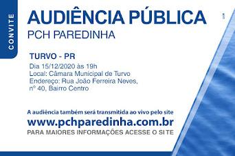 TURVO: AUDIÊNCIA PÚBLICA - PCH PAREDINHA