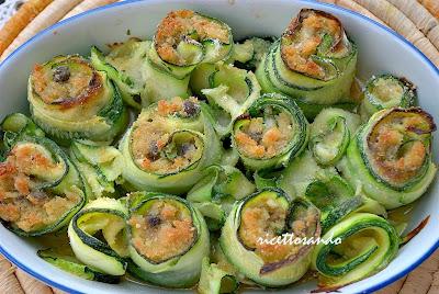 Petali di zucchina farciti di pesce