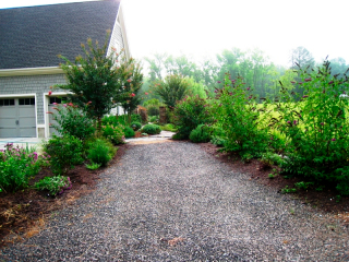 BEFORE: (View From Driveway) Starting In 2005, We Tried Plantings On Either  Side. Photo Is From 2008 And The Third Iteration Of Failed Plantings.