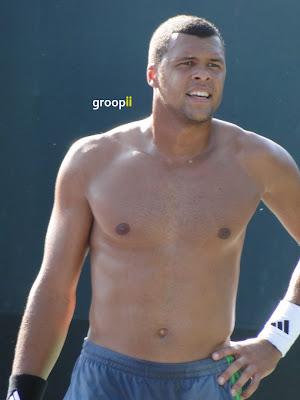 Jo-Wilfried Tsonga Shirtless at Miami Open 2011