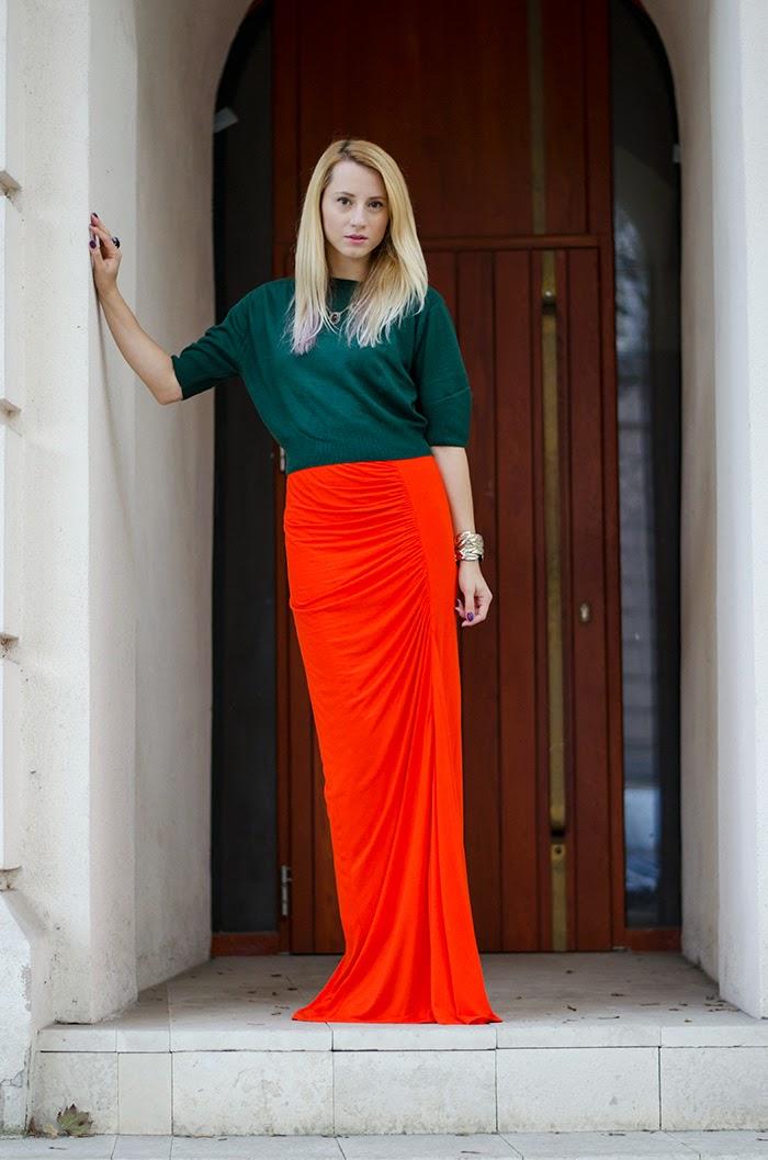Mango orange maxi skirt thrifted greed sweater