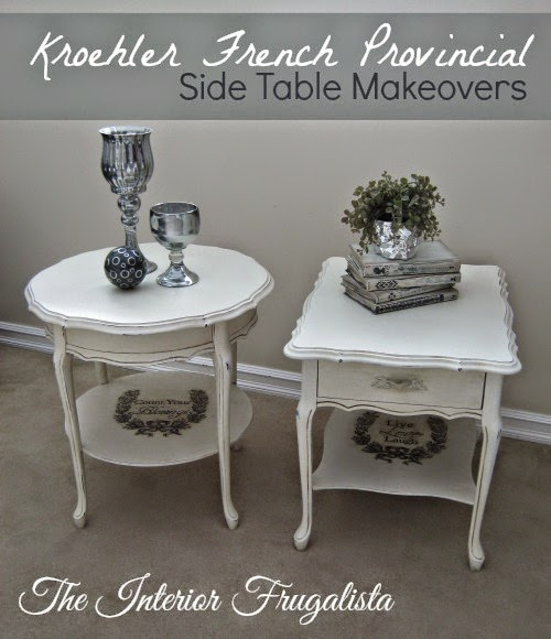 French Provincial Side Table Makeover with graphics