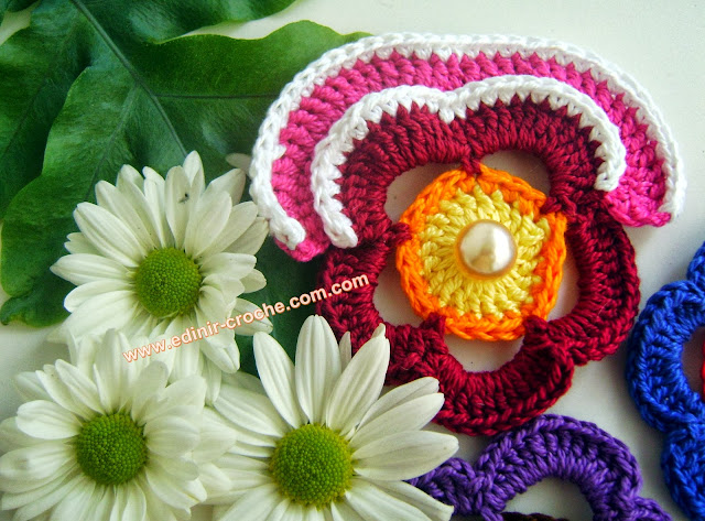 flores amor perfeito em croche da coleção aprendi e ensinei com edinir-croche dvd video aulas blog loja frete gratis