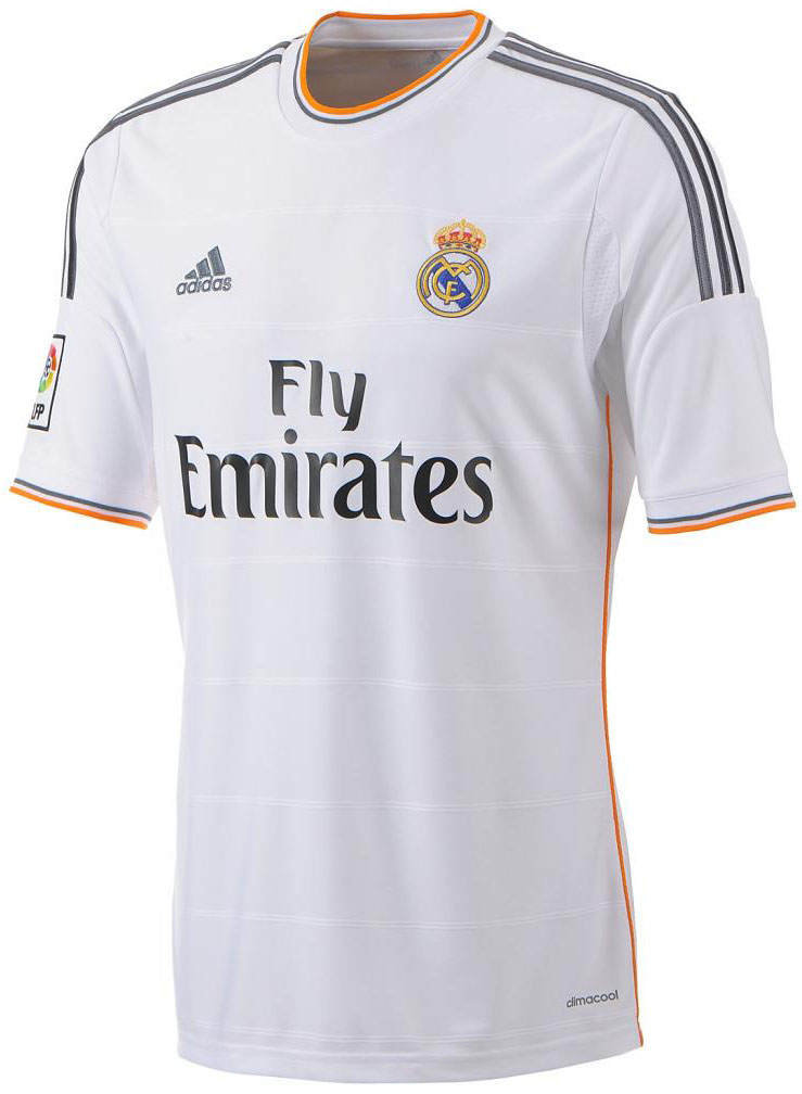 Real Madrid s new home shirt is similar to last seasons one but there is a  new feature. The orange lining on the collar a57af16ca