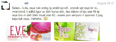 Testimoni SHAPE PLUS dan EVE FIBER