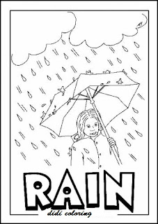 Printable Rainy Weather Coloring Page Girl Standing With Umbrella For Kids