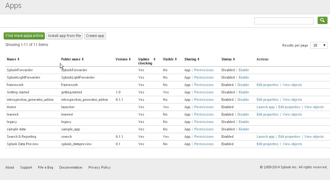 Managing Splunk apps