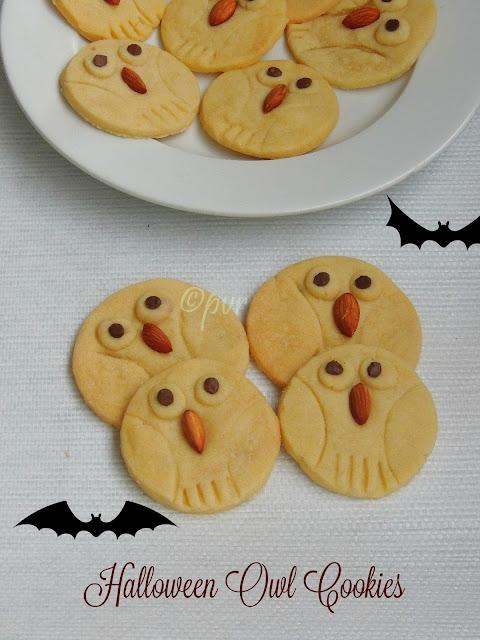Halloween Owl Cookies, Owl Cookies, Eggless Owl cookies