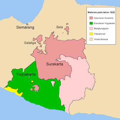 Peta Mataram Baru yang telah dipecah menjadi empat kerajaan pada tahun 1830, setelah Perang Diponegoro.