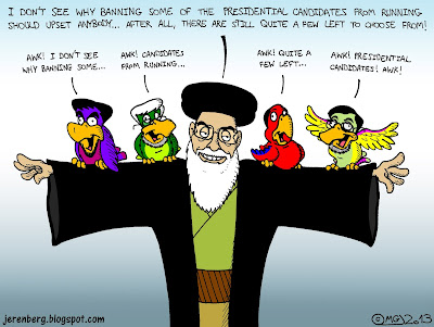 ayatollah khamenei i dont see why banning some of the presidential candidates from running should upset anybody after all there are still quite a few left to choose from parrot perching on outstretched arms squawking repeating words