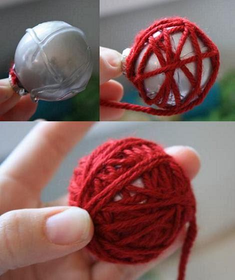 Esferas con lana para decorar por navidad for Decoracion de casas hechas a mano
