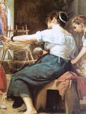 Aracne tejiendo, detalle de Las Hilanderas