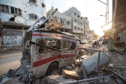 A destroyed ambulance in the city of Shijaiyah in the Gaza Strip. (Boris Niehaus / CC BY-SA 4.0)
