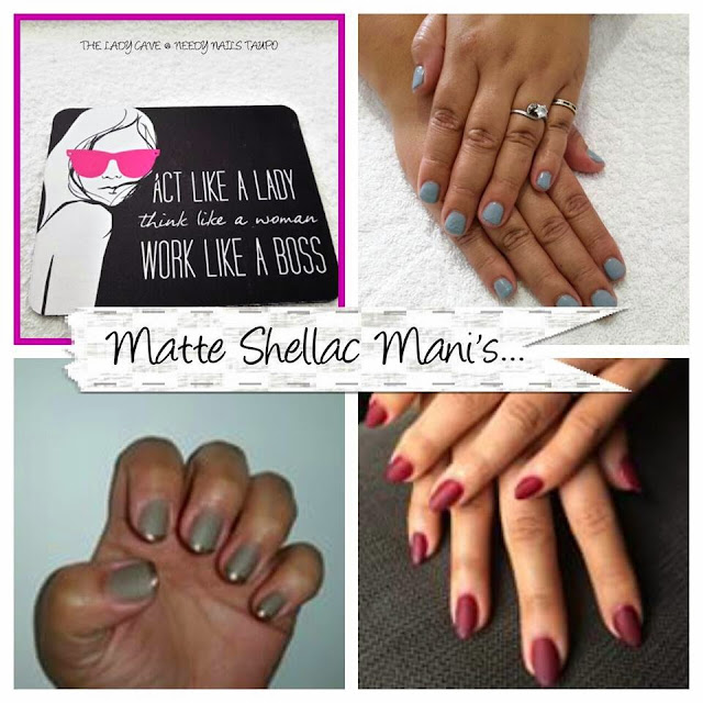 Matte Shellac manicure Hollywood red, gold metallic and mint convertible color deco