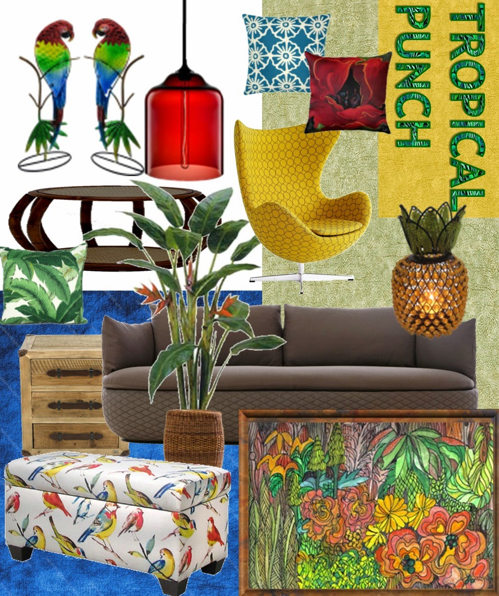 tropical punch mood board - quirk it design - living room layout