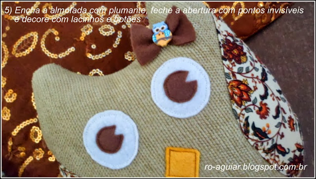 almofada de coruja em tecido com PAP (DIY)