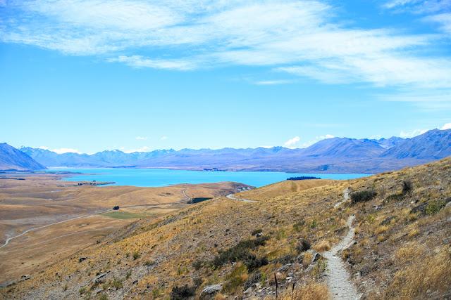 Lake Tekapo and the trail on Mt John