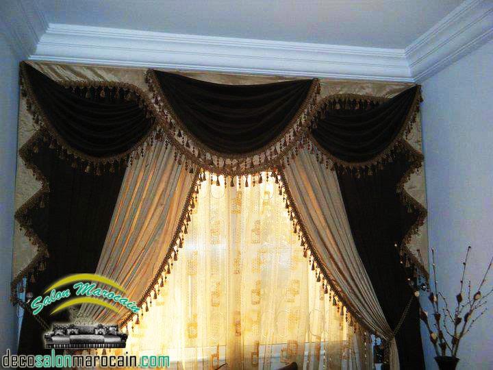 double rideaux occultants  salon marocain