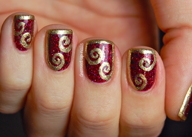 Shimmer Polish Karina with gold swirl half-frame nail art in Zoya Ziv