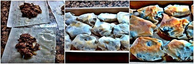 Preparación de los paquetitos de pasta filo rellenos de morcilla y queso azul