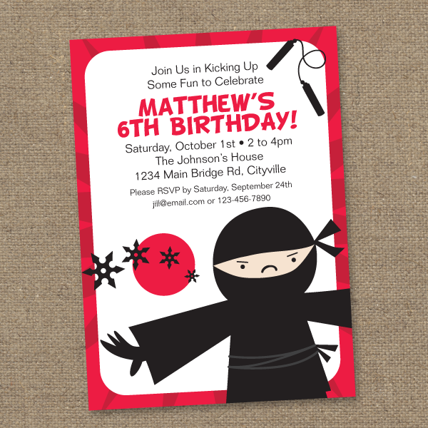 Ninja Birthday Invitations for your inspiration to make invitation template look beautiful