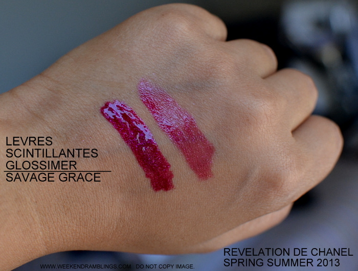 Revelation de chanel Makeup Collection Levres Scintillantes Glossimer Savage Grace 175 Review Photos Swatches FOTD Indian Beauty Blog Swatches Review FOTD Photos