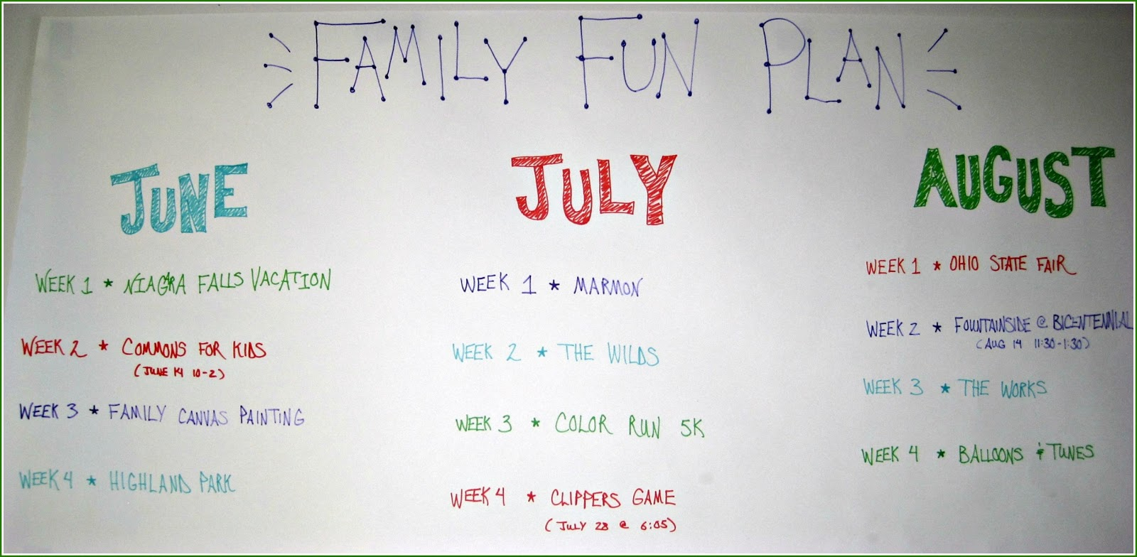 Nbrynn a summer to remember family fun plan for Design a house online for fun