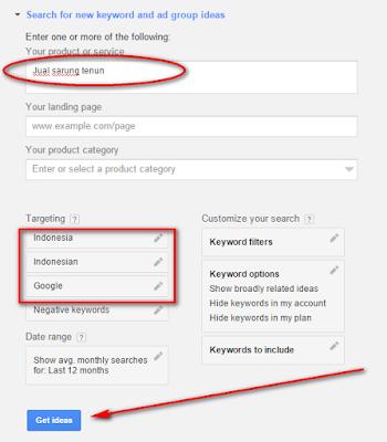 Riset Keywords Menggunakan Google Keyword Planner