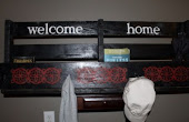 Painted Coat Rack and Pallet Shelf