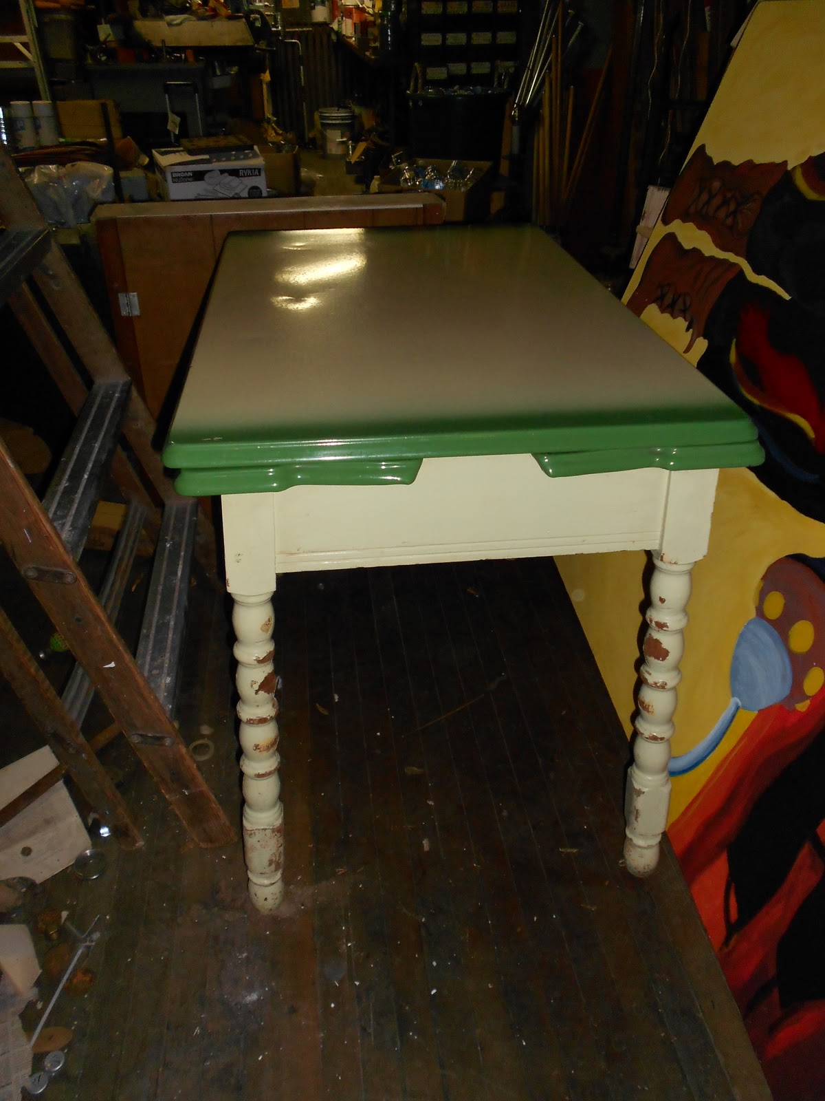 Vintage Retro Metal Top Green Kitchen Table With Fold Out Leaf S