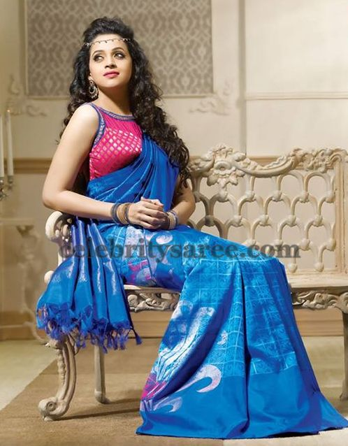 Bhavana Blue Stripes Saree