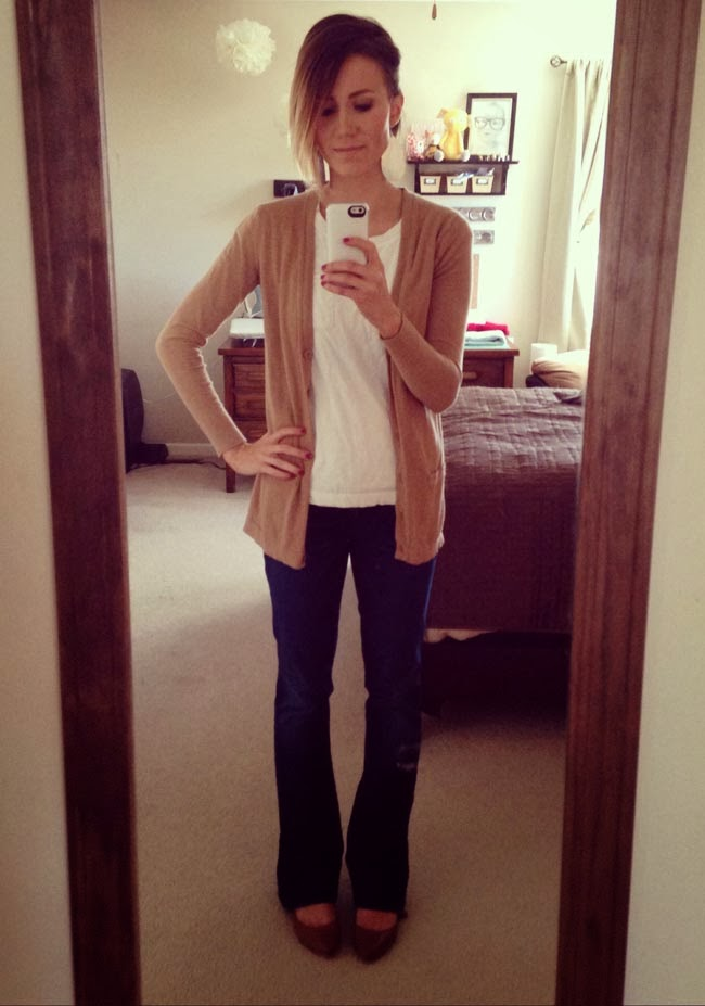 Boyfriend cardigan, dark bootcut denim and nude flats