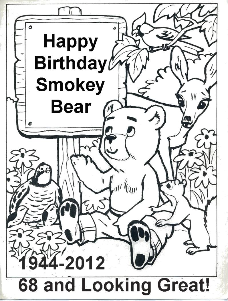 Free coloring pages of drop 3 for Free smokey the bear coloring pages