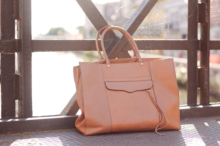 rebecca minkoff brown maxi  tote leather
