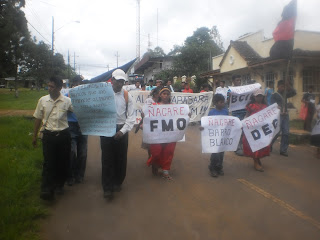La marcha avanza por las calles de Tole