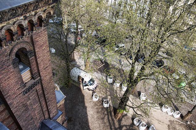 Baustelle Denkmalgerechte Erneuerung Zionskirchplatz, Kirche, Griebenowstraße 16, 10119 Berlin, 03.04.2014