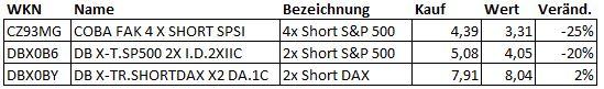 Bilanz der Short-Derivate