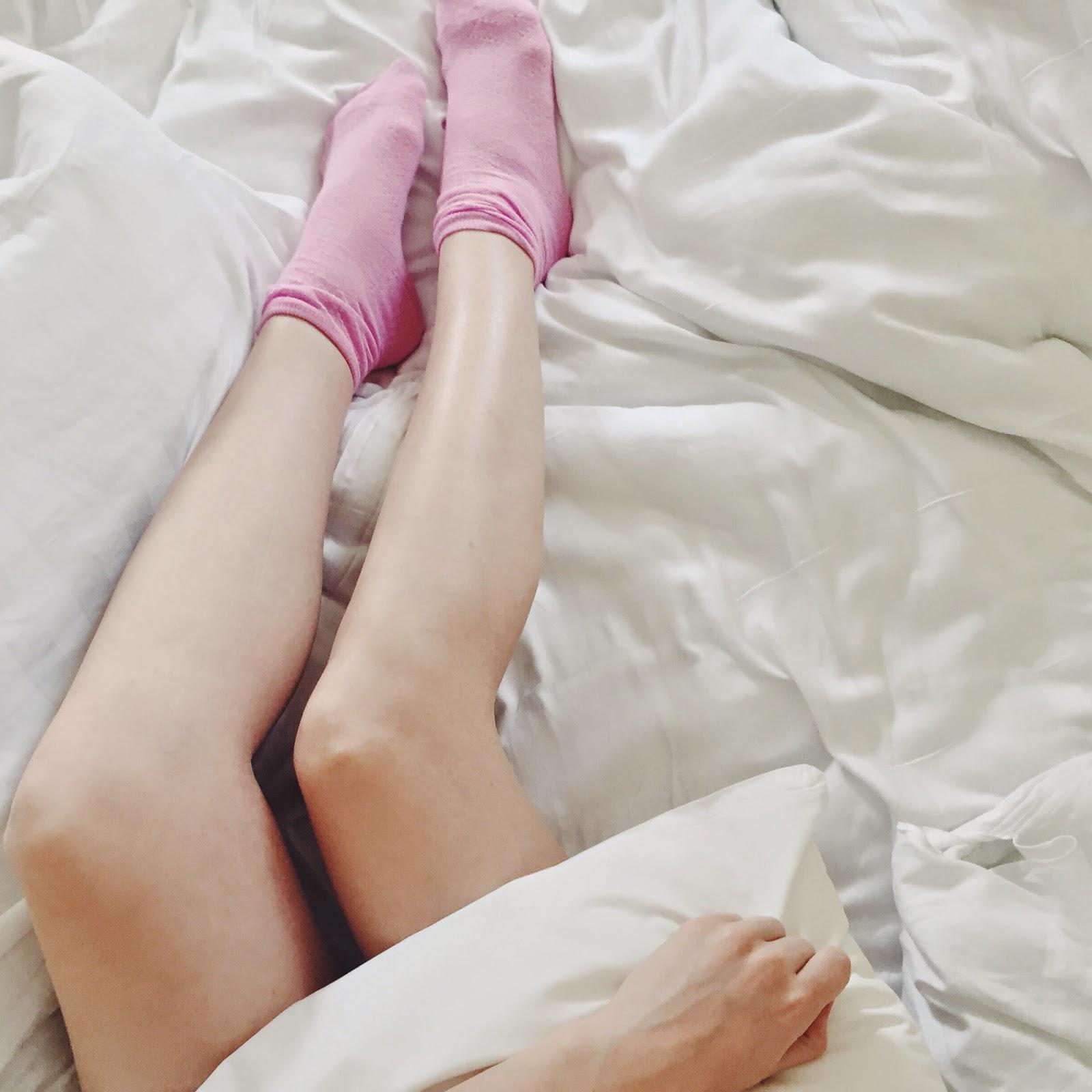 white bed soft socks