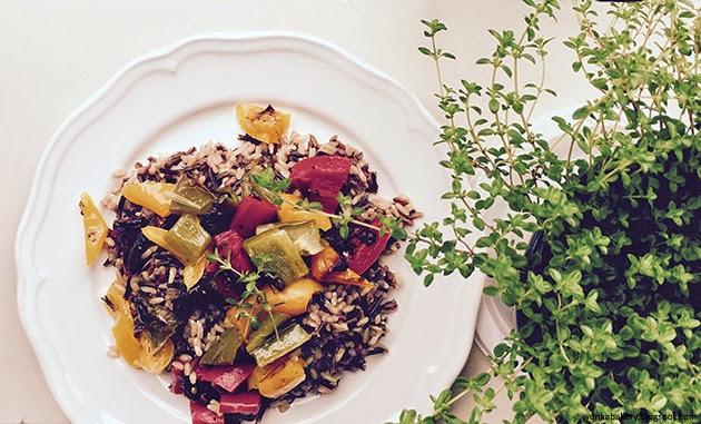 riso selvatico con verdure arrosto - wild rice and roasted pepper